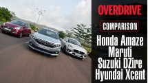 Honda Amaze vs Maruti Suzuki DZire vs Hyundai Xcent - Comparison test