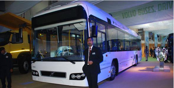 Auto Expo 2012 - Volvo Buses showcases Volvo 7700 Hybrid bus