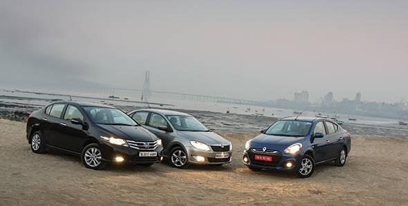 Comparo - 2012 Renault Scala automatic vs Skoda Rapid auto vs Honda City auto in India