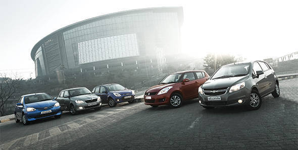 2013 Chevrolet Sail U-VA vs Maruti Swift vs Ford Figo vs Skoda Fabia vs Toyota Liva in India