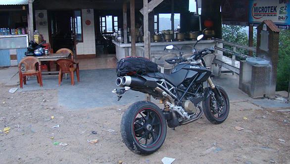 Twin underseat exhausts is a trademark Ducati design