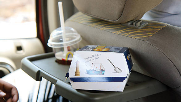 The parcel tray is identical to the Xylo and can't carry more than a sandwich and a small drink
