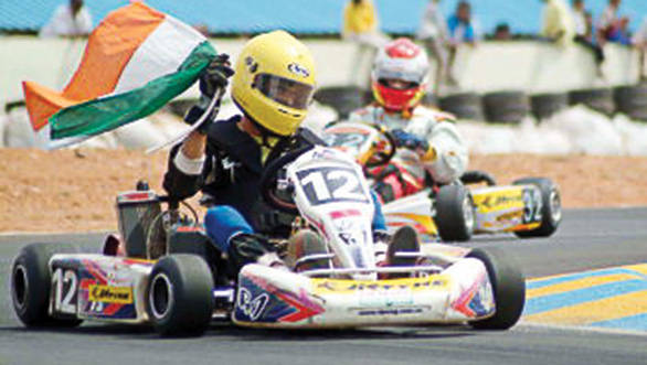 Flying the tricolour high after winning the Asian Kart Open