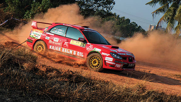 The rally Impreza doing what it is best at