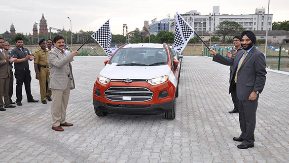 Chennai Port Trust (CHPT) chairman Atulya Misra and Ford India president and MD Joginder Singh flagging off the export of the EcoSport