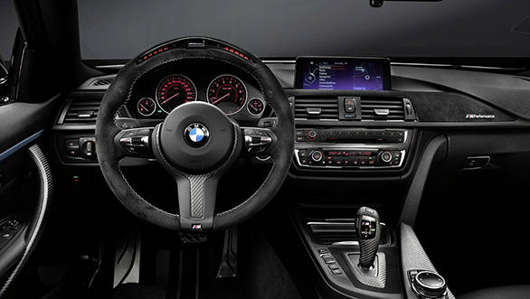 The interiors of the BMW M Peformance Package for the 4 Series Coupe