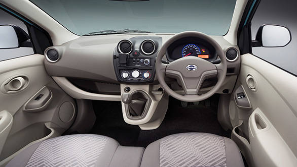 The Datsun's interiors look stylish for a low cost car
