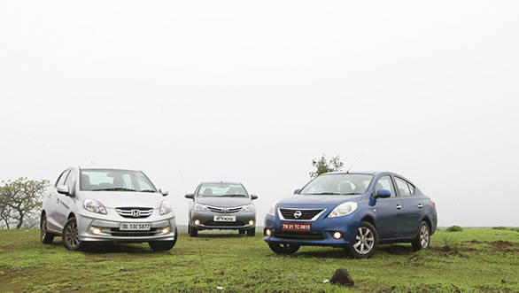 Honda Amaze, Toyota Etios and Nissan Sunny