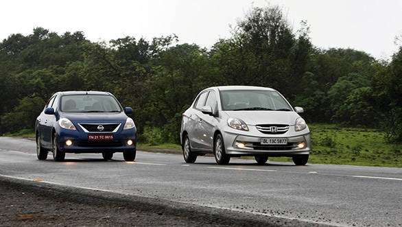 All three cars are closely matched in terms of performance, but the Amaze is the most fuel-efficient at 15.9 kmpl