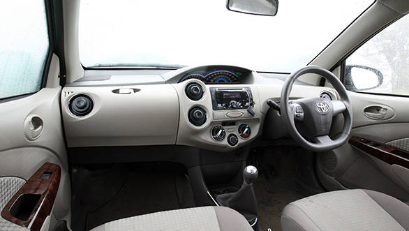 The flat bottom steering wheel of the Toyota Etios is impressive