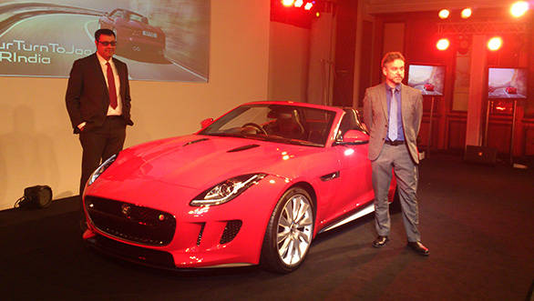 JLR officials with the stunning new Jag F-Type