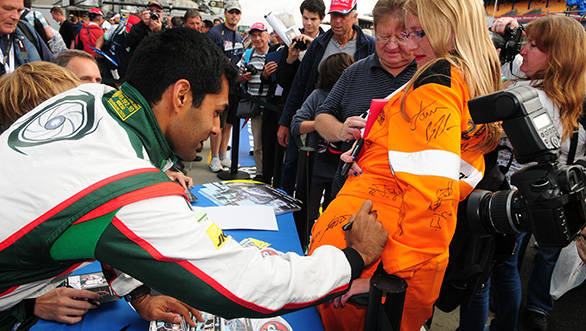 Karun obliges to a slightly unusual autograph request