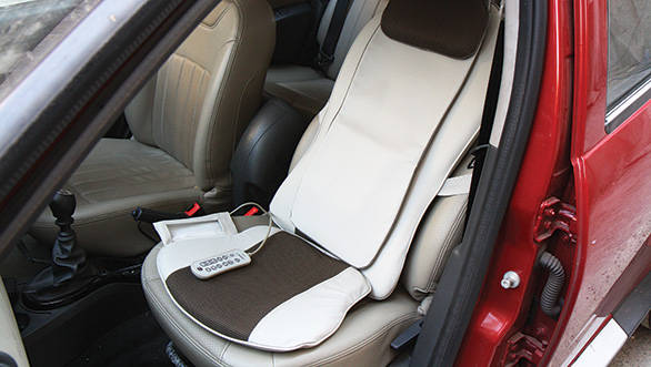 massage chair for car. the osim urelax chair was used in our long-term duster massage for car