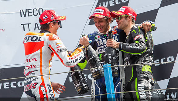 Marquez, Rossi and Crutchlow celebrate on the Assen podium