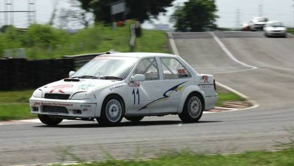 Here's N Leelakrishnan on his way to victory in the ITC races