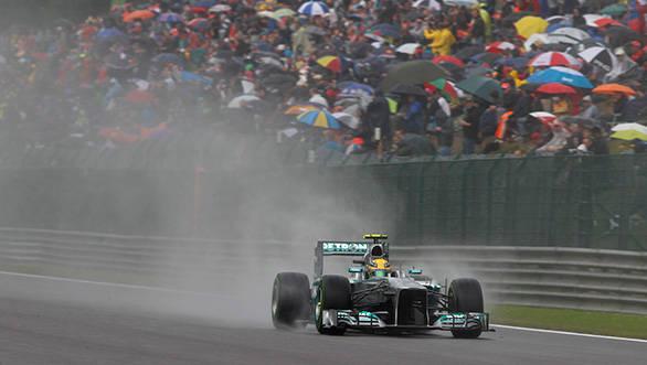 Lewis Hamilton on his way to pole at a rain soaked Spa