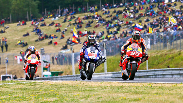 Marquez on his way to victory at Brno, with Lorenzo second and Pedrosa chasing the Yamaha to steal that spot