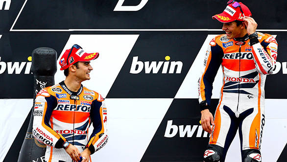 Pedrosa and Marquez look like happy team-mates here a one-two finish can do that, we hear