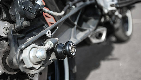 Cotton reels protect the swingarm