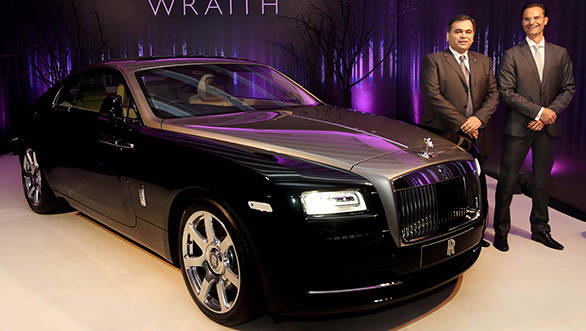 Rolls Royce officials with the Wraith in Delhi