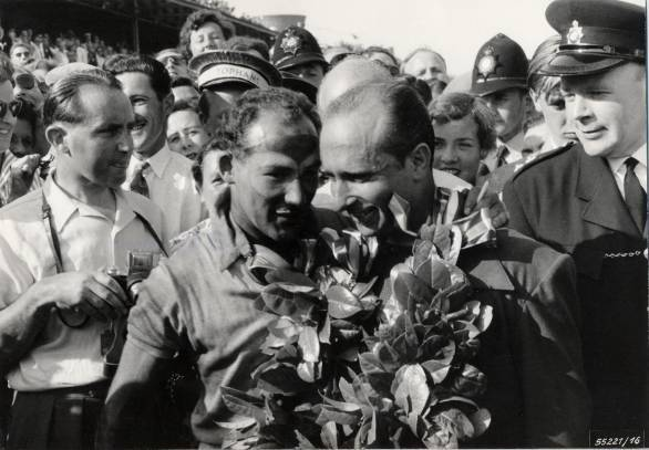 Gentlemanly rivals - Moss and Fangio after the 1955 British GP at Aintree