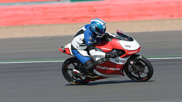 The Mahindra MGP3O you see here is the motorcycle that Mahindra uses to race in the Moto3 class as well as for the team they have in the Italian championship