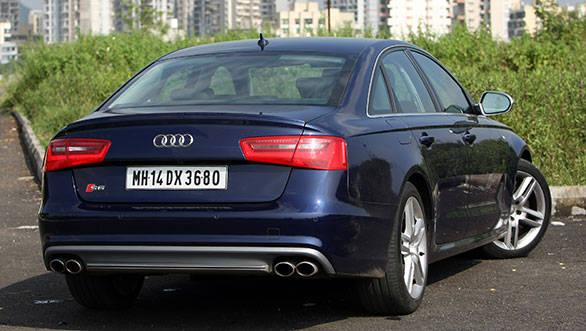 The S6 badge at the rear bumper differentiates the regular A6 and this one