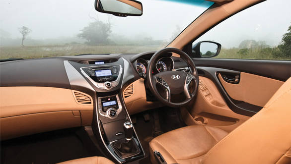 The Elantra's cabin is modern and is a nice place to be in