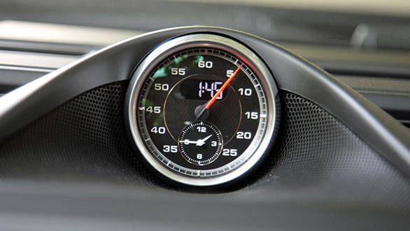 Optional Sports-Chrono dial reminds you that you are in a proper Porsche