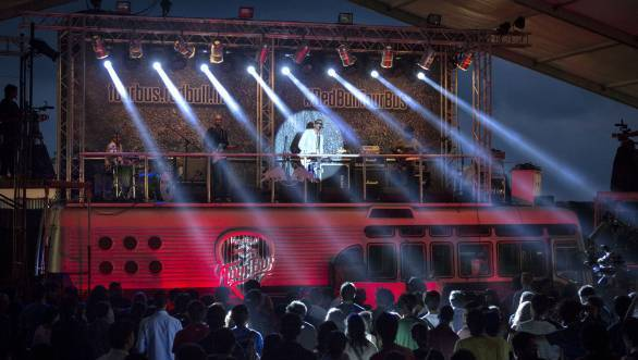 The Supersonics performs at The Red Bull Tour Bus India Launch 2013 at the Wilson Gymkhana ground in Mumbai, India on October 5th, 2013