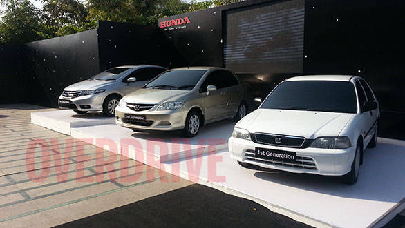 Three generations of the Honda City on display