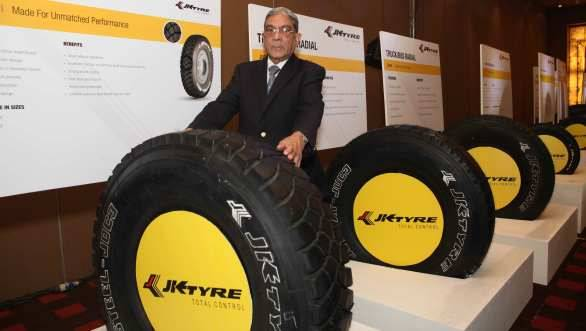 A K Bajoria, president, JK Tyre & Industries Ltd, with the newly launched range