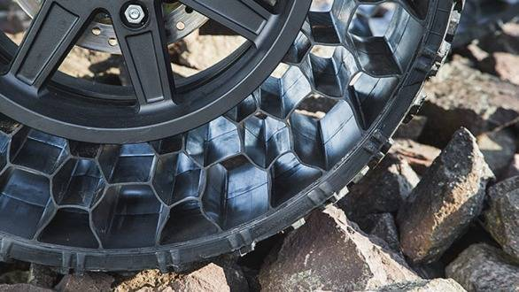 Polaris' 'Terrain Armor' tyres don't require air and cannot be punctured, ripped or torn