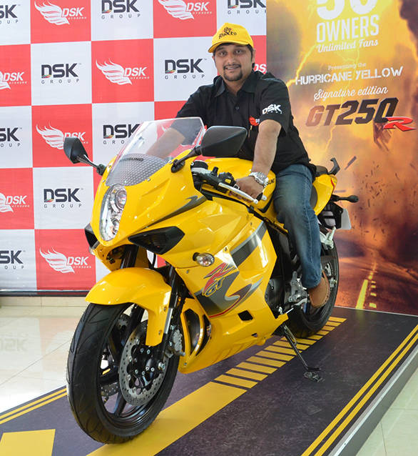 Sirish Kulkarni, director of DSK Motowheels with the limited edition Hyosung GT250R