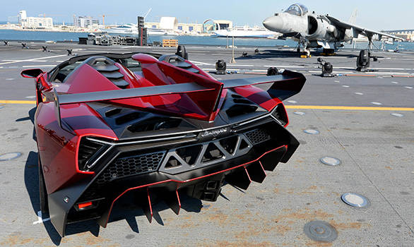 Stunning Images Of The Rs 28 Crore Lamborghini Veneno Roadster Aboard An  Aircraft Carrier