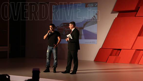 Joe King, head of Audi India with Salman Khan