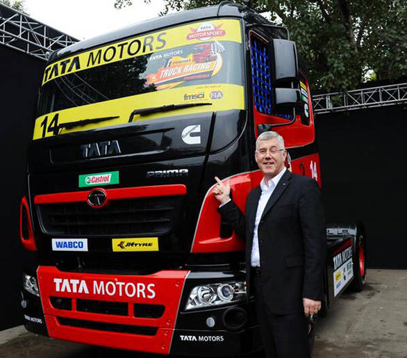 Karl Slym, MD Tata Motors with the Prima Racing Truck