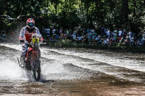 Joan Barreda Bort leads Marc Coma and Cyril Despres on two-wheels
