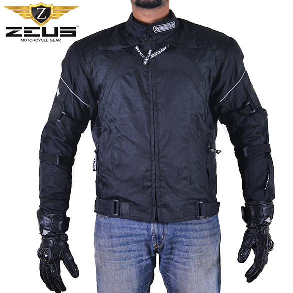 There are adjustment straps on the arms and around the waist of the jacket that provide some adjustment  for a comfortable fit