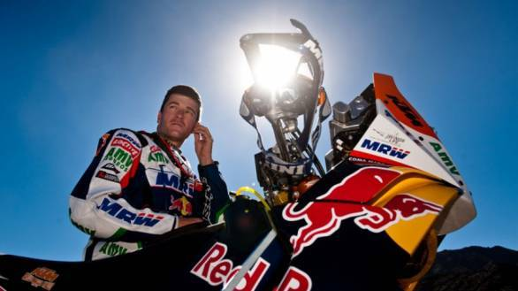 Marc Coma crashed atop the sand dunes during the second stage of the Dakar
