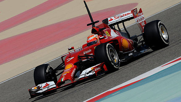 Lowered chassis and the nose end of the new Ferrari F14T