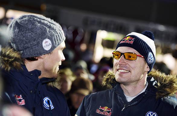 Mikkelson and Latvala look pleased at having beaten Seb Ogier