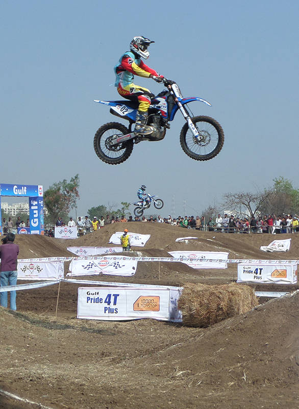 Riders taking on the man-made obstacles