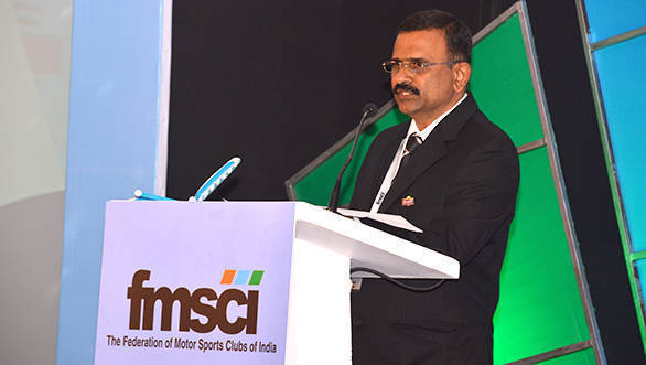 Newly elected FMSCI president, J Prithviraj, addresses the gathering at the FMSCI awards