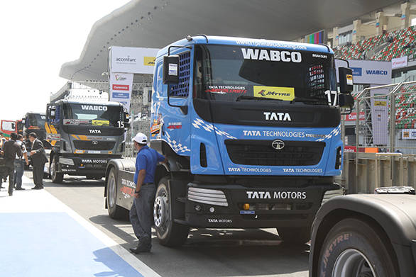 The Tata Prima T1 Racing trucks line up in the pitlane ahead of the practice session