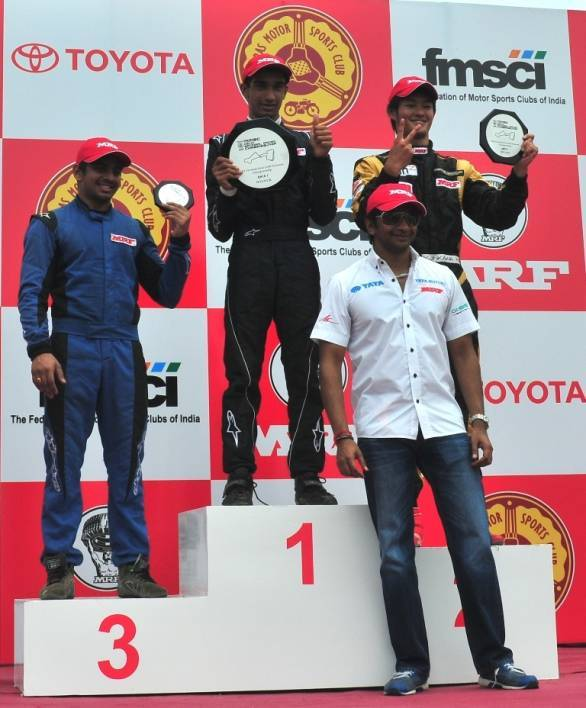 Tarun Reddy (centre) moves to a season in the Formula Renault BARC for 2014