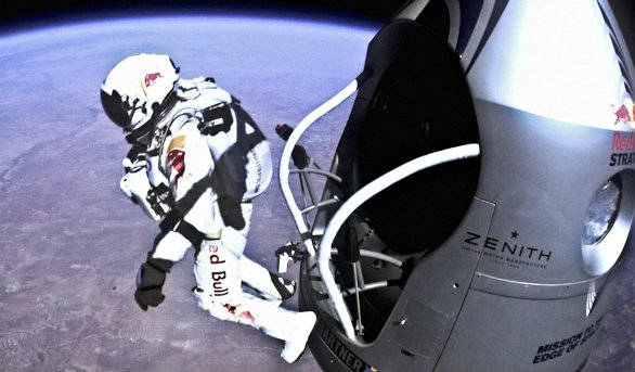 The famous jump from the edge of space that saw the Austrian touch speeds of over 1350 kmph