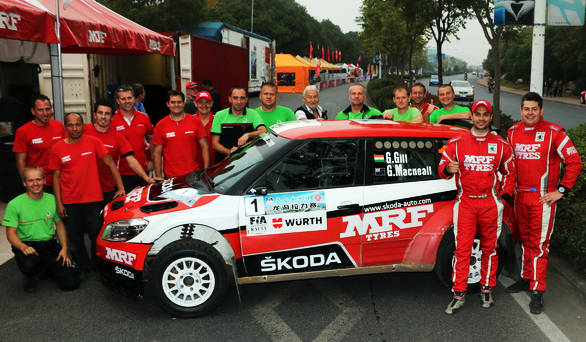 APRC Champions - Gill and codriver Glenn Macneall with the Team MRF Skoda crew