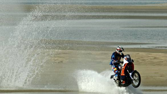 Santosh finished the Sealine Cross Country Rally in eighth place in the motorcycle class