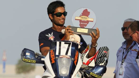 Santosh is also eighth in the overall standings in the motorcycle class
